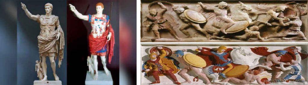 Estatua de Octavio Augusto y Sarcófago de Alejandro Magno, actualidad frente a original